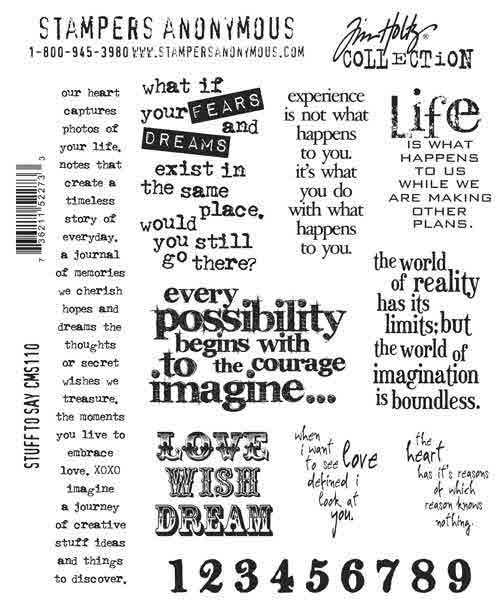 Cling Mount Stamps - Stuff To Say by Tim Holtz - Stampers Anonymous