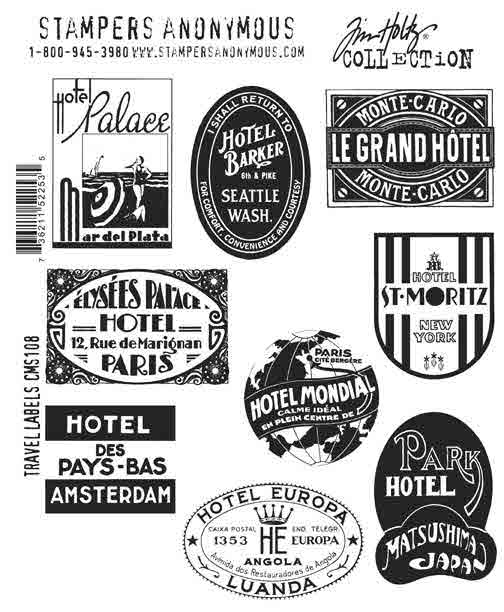 Cling Mount Stamps - Travel Labels by Tim Holtz - Stampers Anonymous