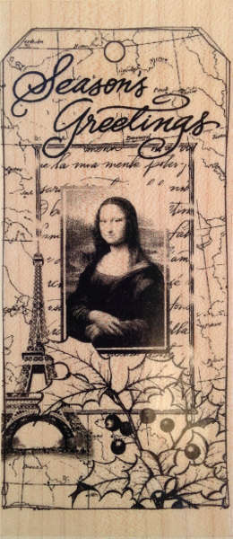 Rubber Stamp - Wood Mounted - Collage Mona Lisa - Seasons Greetings - Hero Arts