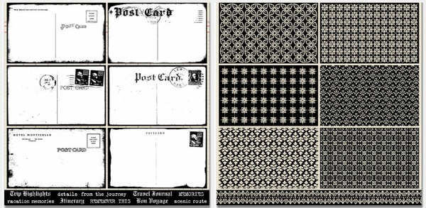 Travel Ledger  Travel Postcards 12x12 Double sided Paper - Teresa Collins-1