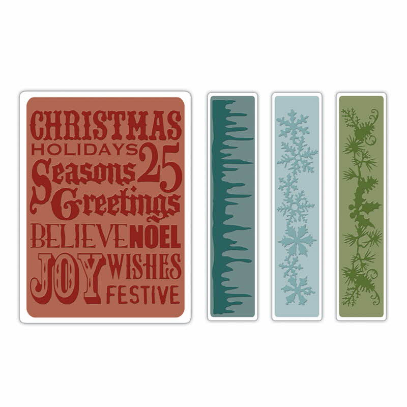 Texture Fades Embossing Folders - Alterations  Christmas Background & Border - Tim Holtz - Sizzix